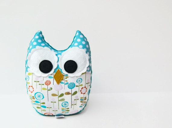 Plush Owl Mini Pillow Softie Toy Minky Aqua Teal Pink Green