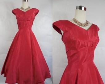 1950's Vintage Red Taffetta Murray Hamburger Party Dress