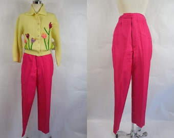 1960's/ 1950's  Vintage Fuchsia  Silk Capri Pants