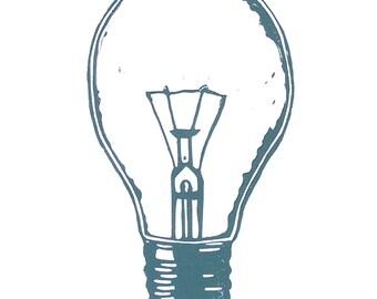 LINOCUT PRINT - lightbulb blue grey LETTERPESS letterpress 8x10 Nikola Tesla poster
