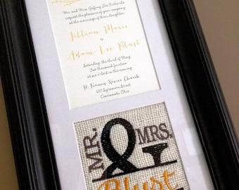 Custom Embroidered Framed Wedding Invitation Keepsake