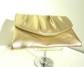 Vintage Gold Metallic Clutch Bag - on sale