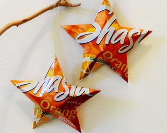 Shasta Orange Stars Christmas Ornaments Soda Can Upcycled Repurposed