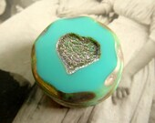 NEW Turquoise Love Chunky Coins .  Picasso Czech Glass Bead (1) 20 mm . Valentines Day