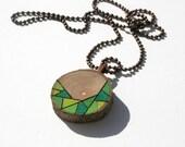 Wood Slice Pendant Necklace, Wood Burned Original Design Colored with Prismacolor Pencils