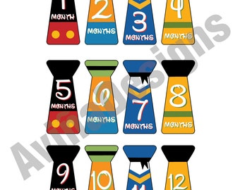 12 Mickey & Friends Baby Boy Monthly Onesie Stickers Newborn Instant Download Mouse DIY