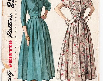 Vintage 1949 Simplicity 2400 Sewing Pattern Misses' One-Piece Dress Size 14 Bust 32