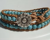 Turquoise Magnesite Beaded Leather Wrap Bracelet with Daisy Button