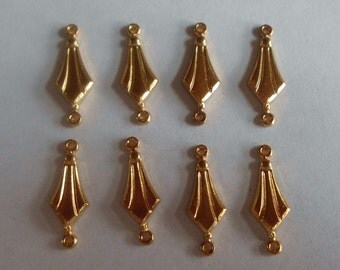 Vintage Dangles- Jewelry Components- Gold Plated- Ornate- Brass- Set of 8- Costume- Distressed