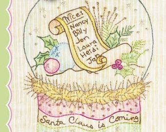 Crabapple Hill Quilt Pattern - Hand Embroidery  2528  Santa Claus Snow Globes Block 7