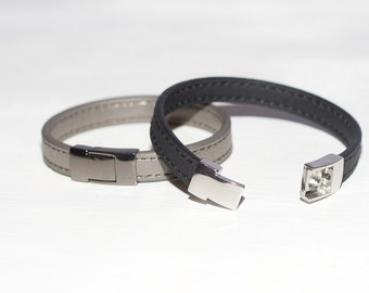 Silver - Black Magnet Leather Bracelet ~Set of 2