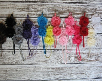 2 Baby Headbands, Shabby Chic Double Flower on 1/8 inch Elastic, You Pick From 14 Colors