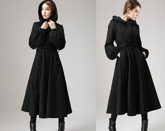 Black wool coat,long trench coat, womens coats, Dress coat, swing coat, Hooded coat, coat wool, maxi coat, winter clothing, Gift for her 724