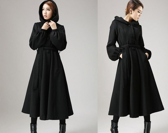 Black wool coatlong trench coat womens coats Dress coat