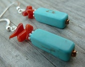 Rustic Cowgirl South Western Turquoise Magnesite Stone Earrings with Red Coral Sticks