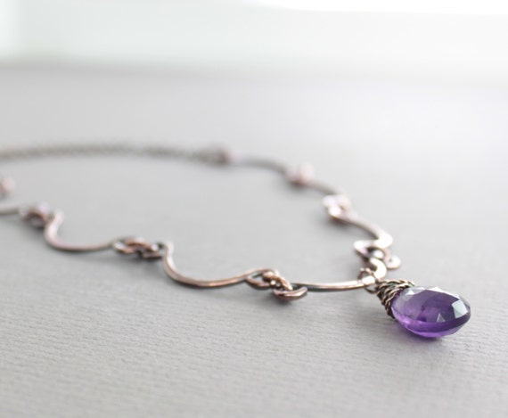 Scallop shape copper necklace with hand forged arch links on chain with purple amethyst - Stone necklace