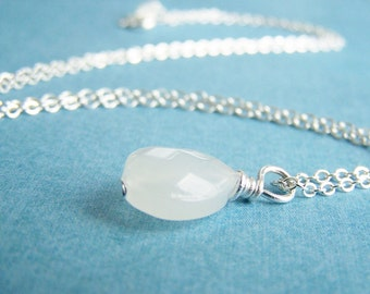 Moonstone Teardrop - Stunning White Glass Necklace - FREE shipping WAI - affordable quality jewelry - bridesmaid - weddings sale - Autumn