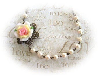 Peace Rose with Pearls Necklace - Wedding - Bridesmaids Jewelry
