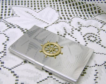 Nautical Business Card Holder, SHIPS WHEEL Matte Silver Aluminum, Boating, Sailing, Helm, Fishing, Captain, Metal wallet, Credit Card Case