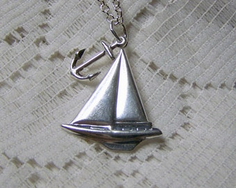 Silver Sailboat and Anchor Necklace - Sterling - Sailing Necklace - Nautical Pendant - Sailboat Pendant