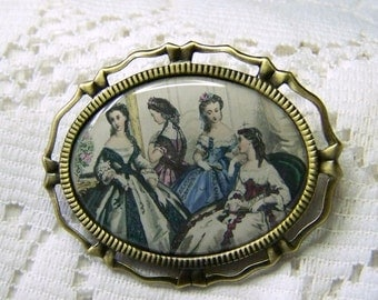 Southern Belles Brooch - UDC Brooch Necklace combo -  Rainbow Ball - Antebellum Ladies - Gone With The Wind- Civil War Antiqued Gold Art Pin