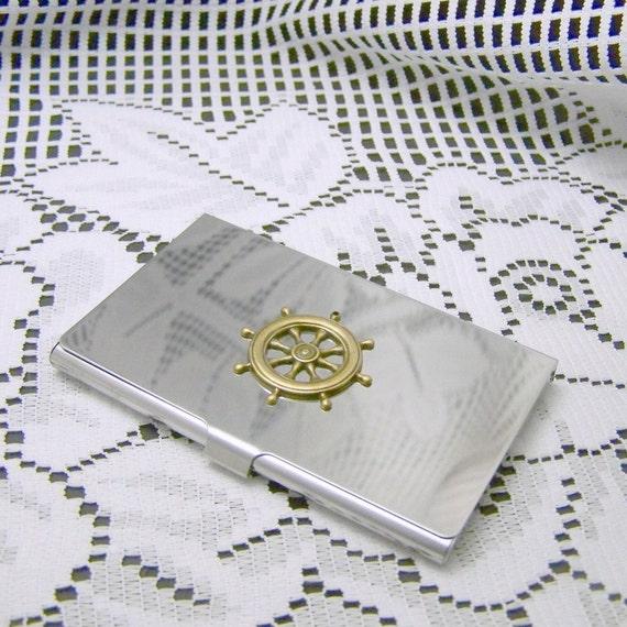 Nautical Business Card Holder, SHIPS WHEEL Matte Silver Aluminum, Boating, Sailing, Helm, Fishing, Captain, Metal wallet, Credit Card Case