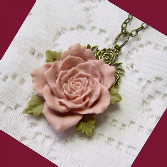 PINK Blush Rose Necklace - Victorian Style - Shabby Chic - Dusty Rose - Cabbage Rose - Flower Garden - Mother's Gift
