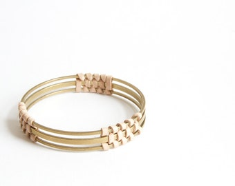 Leather and Brass bangle narrow - black or natural