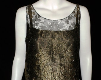 Museum Quality Art Deco Oreintalist Period Antique Gold Metallic Lace Lame Dress Velvet Beaded French Couture Rare Wearable 1920s