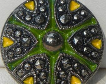 Dramatic Czech Glass Button