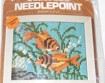 Needlepoint Kit, Goldfish Needlepoint, Columbia-Minerva, Canvas, Small Needlepoint Kit, Needlepoint Fish, Needlepoint by NewYorkTreasures