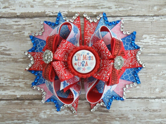 Fourth of July Bling Bow, Ready to Ship, July 4th bow, Red White & Blue Bow