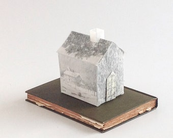 House on a Book -The Seasons of a House - Altered Book - OOAK Transparent House