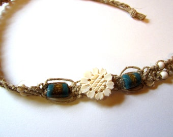 Hemp Necklace with a sunflower & African sandcast BEads ~ Macrame Necklace~ tribal turquoise sandcast beads