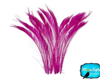Peacock Feathers, 50 Pieces - HOT PINK Bleached Peacock Swords Cut Wholesale Feathers (bulk) : 3431