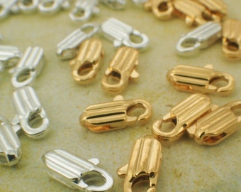 10 Textured Lobster Clasps - Silver or Gold Plated Brass - Small 10mm X 4mm - 100% Guarantee