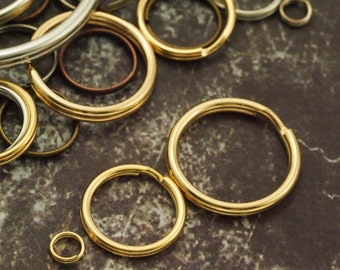 Gold Plated Split Jump Rings - You Pick Size - 5mm, 8mm, 10mm, 15mm , 20mm, 28mm OD - Great for Key Rings, Dog Tags and Other Projects