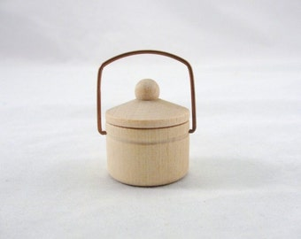 Wooden miniature kettle with lid