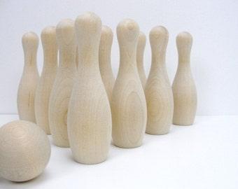 DIY bowling game, wooden bowling pins