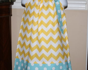 Pillowcase dress chevron yellow, aqua blue polka dot dress todder dresses 3, 6, 9, 12, 18 mo 2t, 3t, 4T