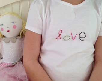 l-o-v-e short sleeve white t-shirt baby toddler girl hand embroidery valentine