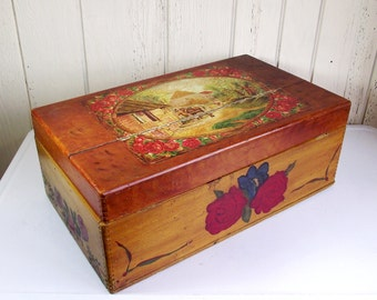 Antique Wooden Chest Hand Painted Folk Floral English Cottage Equestrian Trunk Box OOAK