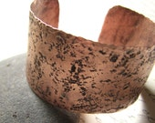 Earth Textured Copper Cuff Bracelet, Large Cuff Bracelet, Urban Decay - Redwood Cafe