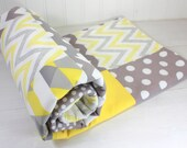 Baby Blanket, Unisex Patchwork Baby Blanket, Stroller Blanket, Crib Blanket, Gender Neutral Minky Blanket, Yellow and Gray Chevron Dots