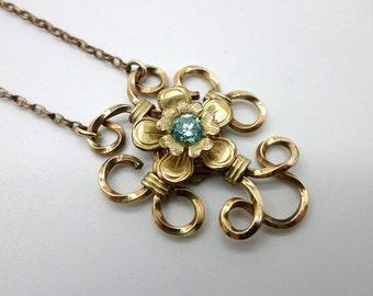 Vintage Gold Filled Louis Stern L.S. Co. Light Blue Rhinestone Necklace