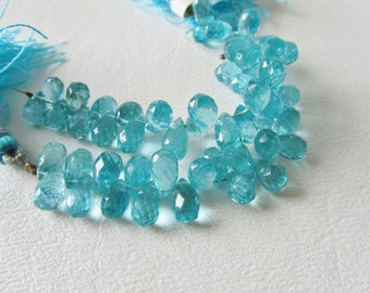 Stunning Apatite Faceted Teardrop Briolettes Neon Blue 6 Pieces