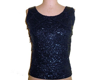 Vintage 1950s Top with  Sequins  and Beads  Black Sleeveless SIZE Small  Mad Men Chic  Art Deco Flapper