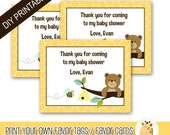 Honey Bear and Bumble Bee Printable Favor Tags for Baby Showers or Birthdays PDF PRINTABLE