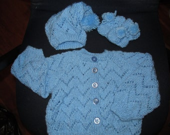 Custom Made Baby Boy 4 pc sweater set. 0-3.3-6, or 6-12 months.