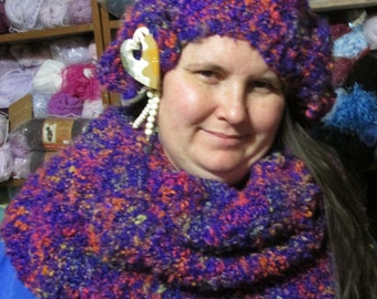 """Ready to Ship  MAKES GREAT GIFT!!!!""""  womans hat scarf , set hand knit/made"""